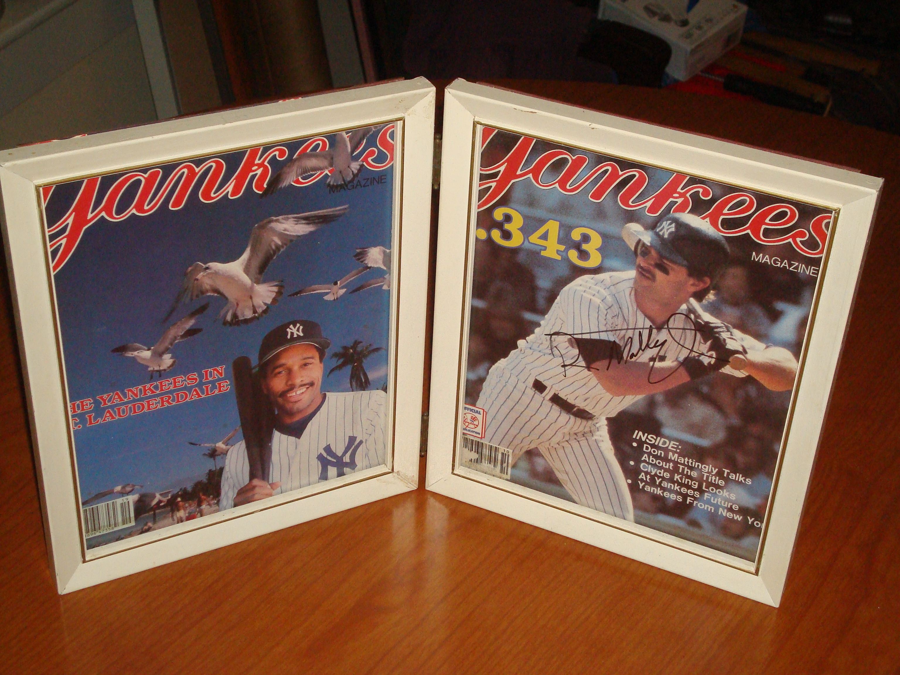 Official Framed Yankees Magazines featuring MLB Hall of Fame OF Dave Winfield and Autograph 1B Don Mattingley