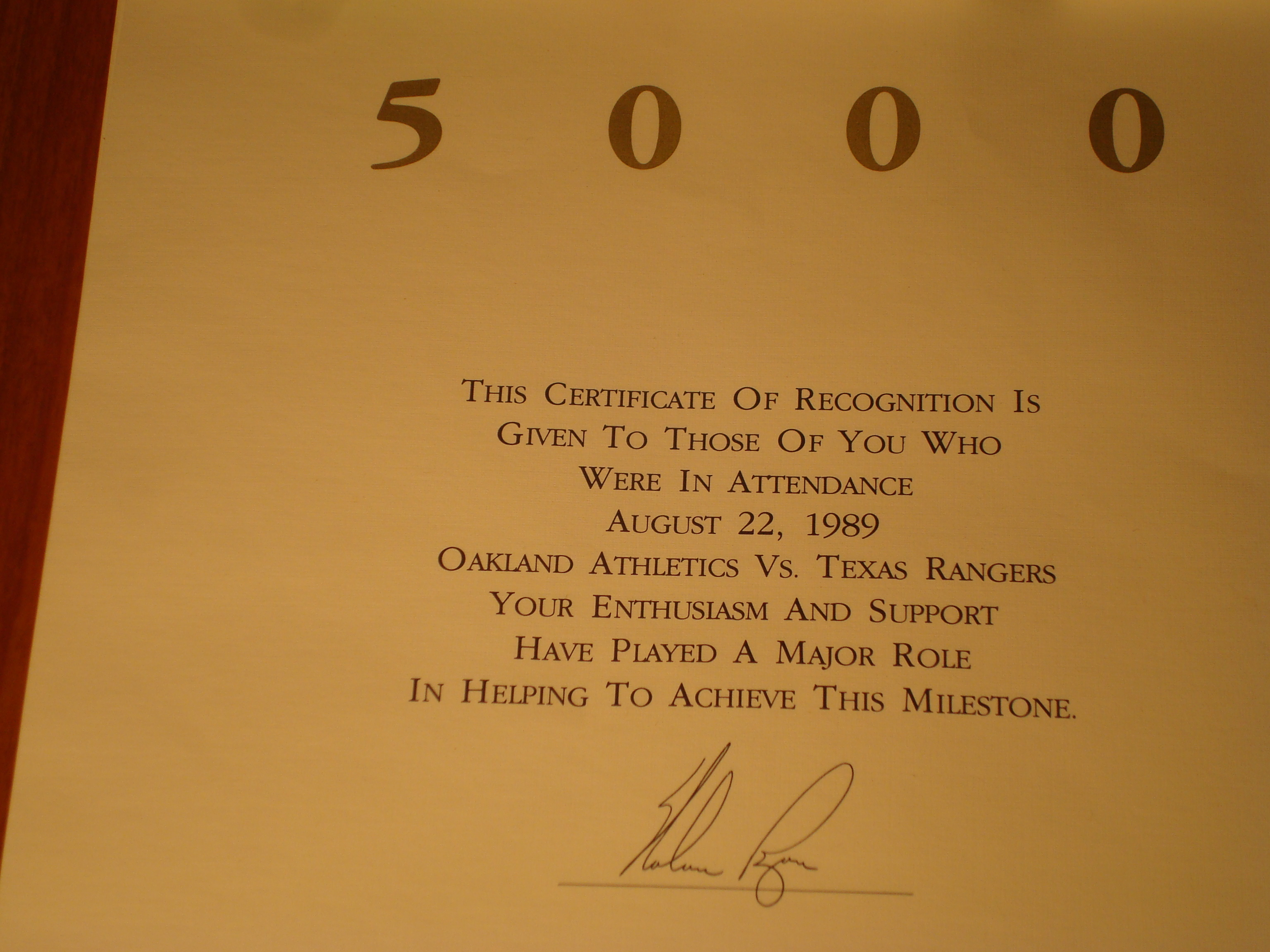 Official 1989 Certificate of Attendance - Texas Ranger P Nolan Ryan's 5000th Strikeout