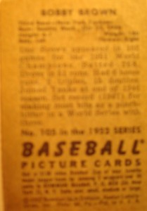 Original Baseball Card 1949 Backside of 1950 Topps New York Yankees OF Bobby Brown