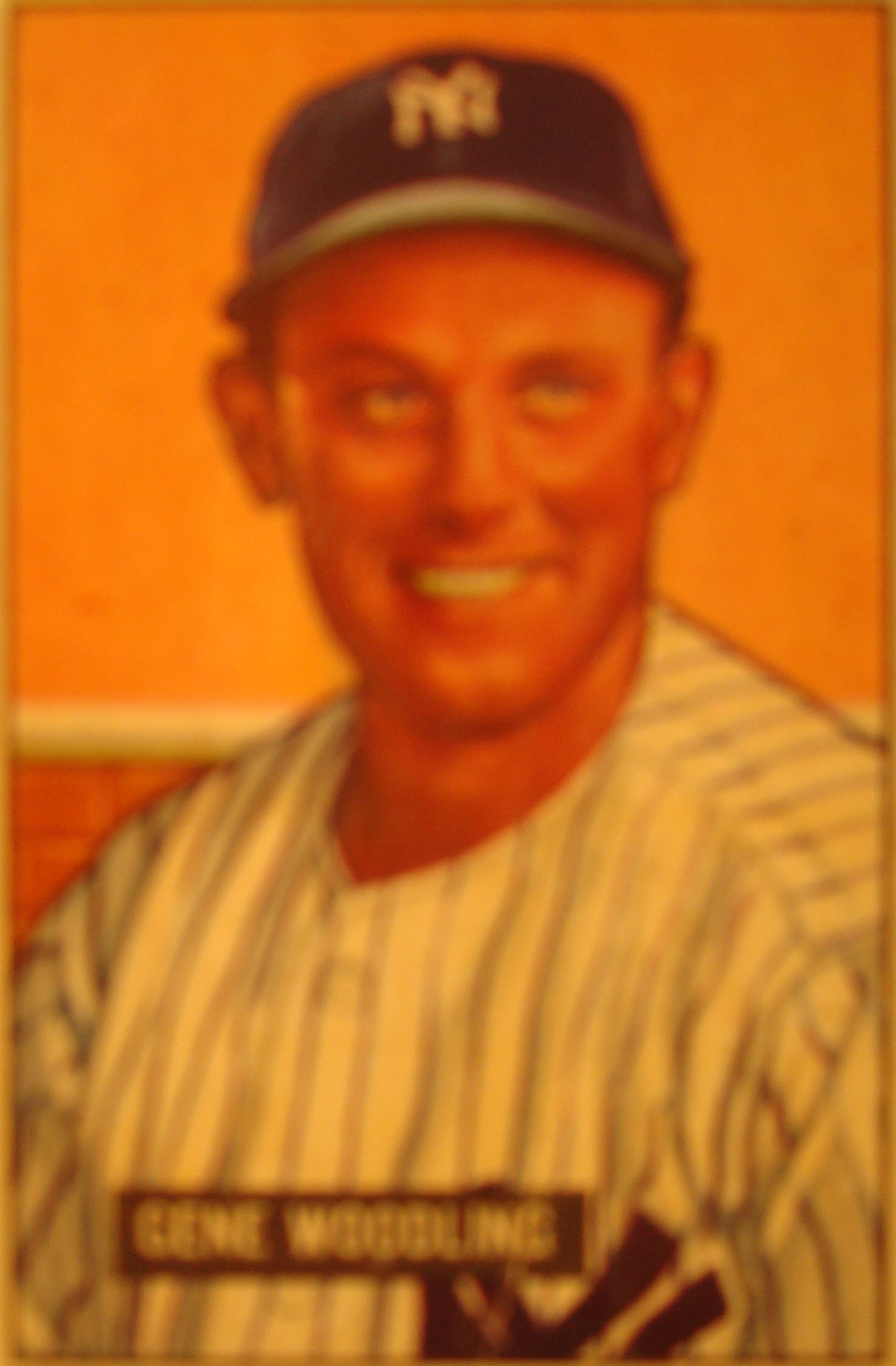 Original Baseball Card 1951 Bowman New York Yankees OF Gene Woodling