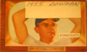 Original Baseball Card 1955 Bowman New York Yankees P Jim Konstanty