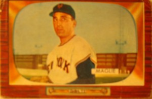 Original Baseball Card 1955 Bowman New York Yankees P Sal Maglie
