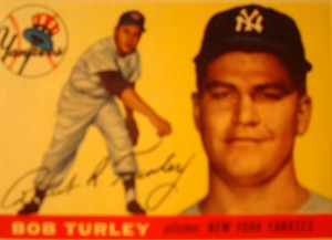 Original Baseball Card 1955 Topps New York Yankees P Bob Turley