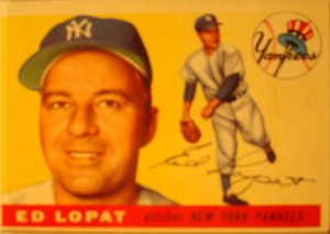 Original Baseball Card 1955 Topps New York Yankees P Ed Lopat