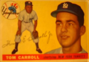 Original Baseball Card 1955 Topps New York Yankees SS Tom Carroll