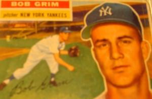 Original Baseball Card 1956 Topps New York Yankees P Bob Grim