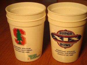 Official NFL Souvenir Drink Cup for 1985 Super Bowl XIX - San Francisco 49'ers vs Miami Dolphins