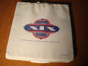 Official Stadium Seat for 1985 NFL Super Bowl XIX Game at Stanford Stadium with San Francisco 49ers (Coach Bill Walsh) vs Miami Dolphins (Coach Don Shula)