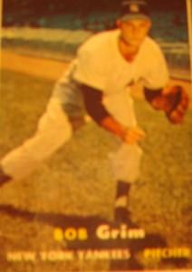 Origianl Baseball Card 1957 Topps New York Yankees P Bob Grim