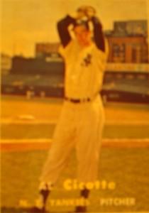 Original Baseball Card 1957 Topps New York Yankees P Al Cicotte