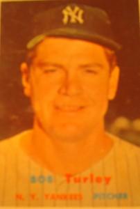 Original Baseball Card 1957 Topps New York Yankees P Bob Turley