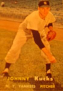 Original Baseball Card 1957 Topps New York Yankees P Johnny Kucks