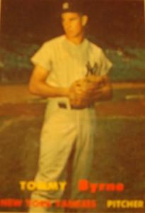 Original Baseball Card 1957 Topps New York Yankees P Tommy Byrne