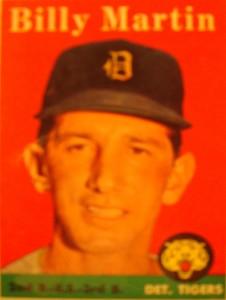 Original Baseball Card 1958 Topps Detroit Tigers & New York Yankees 2B Billy Martin