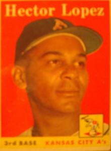 Original Baseball Card 1958 Topps Kansas City A's & New York Yankees 3B Hector Lopez