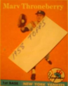 Original Baseball Card 1958 Topps New York Yankees 1B Marv Throneberry