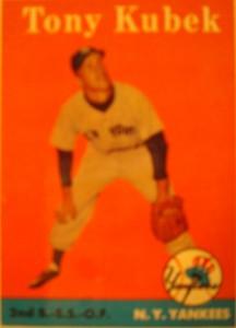 Original Baseball Card 1958 Topps New York Yankees 3B & SS & OF Tony Kubek