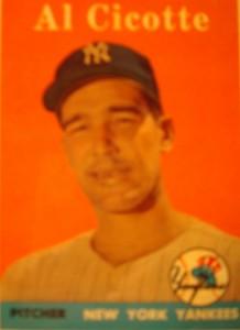 Original Baseball Card 1958 Topps New York Yankees P Al Cicotte