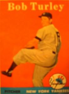 Original Baseball Card 1958 Topps New York Yankees P Bob Turley