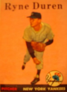 Original Baseball Card 1958 Topps New York Yankees P Ryne Duren