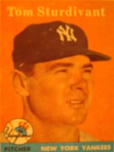 Original Baseball Card 1958 Topps New York Yankees P Tom Sturdivant