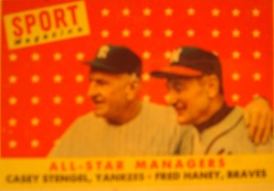 Original Baseball Card 1958 Topps Sport Magazine All Star Managers - American League N Y Yankees Casey Stengal & National League Atlanta Braves Fred Haney