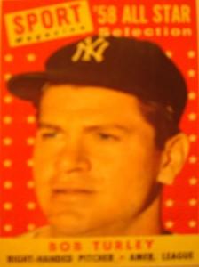 Original Baseball Card 1958 Topps Sport Magazine All Star New York Yankees P Bob Turley