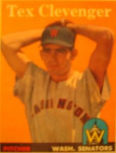 Original Baseball Card 1958 Topps Washington Senators & New York Yankees P Tex Clevenger