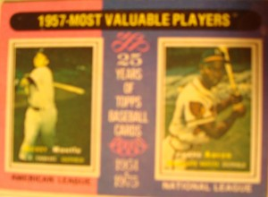 Original Baseball Card 1982 Topps Tribute to 1957 MVP AL Yankees CF Mickey Mantle & NL Braves OF Hank Aaron
