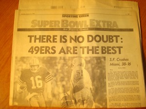 Original Monday, January 21, 1985 Edition of San Francisco Chronicle Super Bowl XiX Extra featuring the San Francisco 49's OB Joe Montana vs Miami Dolphins LB Mark Brown