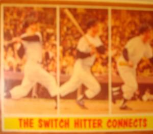 MLB - Original Baseball Card 1961 NY Yankees CF Mickey Mantle connecting in WS Game 5 win.