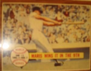 MLB - Original Baseball Card 1961 NY Yankees RF Roger Maris HR in 7th to win WS Game 3