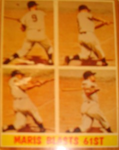 MLB - Original Baseball Card 1961 NY Yankees Roger Maris's 61st HR breaking Babe Ruth's 1927 record of 60