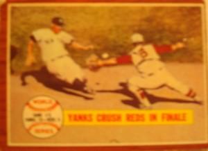 MLB - Original Baseball Card 1961 NY Yankees vs Cincinnati Reds in WS Game 5 win.