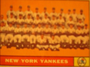 MLB - Original Baseball Card 1961 World Series Champions New York Yankees Team