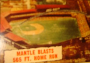 MLB - Original Baseball Card 1961 tribute to NY Yankees Mickey Mantle's 565 ft. HR