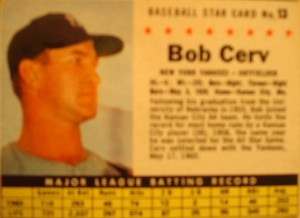 MLB - Original Baseball Card 1962 NY Yankees OF Bob Cerv