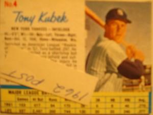 MLB - Original Baseball Card 1962 NY Yankees SS Tony Kubek