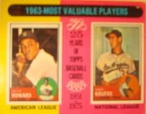 MLB - Original Baseball Card 1963 MVP's AL NY Yankees C Elston Howard & NL Los Angeles Dodgers P Sandy Koufax