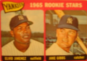 MLB - Original Baseball Card 1965 New York Yankees Rookie Stars OF Elvo Jimenez & C Jake Gibbs