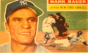 Original Baseball Card 1956 NY Yankee OF Hank Bauer