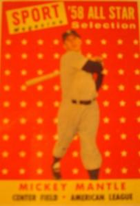 Original Baseball Card 1958 NY Yankee All Star CF Mickey Mantle