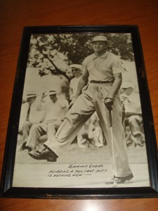 Original Picture - PGA - 1952 Masters Golf Champion Slamming Sammy Snead after missing a 3 ft put in route to winning his 3rd Masters Title. Snead's accomplishments included 82 PGA Championships (1st all time) / 3 x Masters Winner / 1946 US Open Winner / 3 x PGA Championship Winner / 3 x PGA Tour leading money winner (1942, 1949, 1951) / 1949 PGA Player of the Year / 4 x Vardon Trophy Winner (1936, 1949, 1950, 1955) / Inducted into World Golf Hall of Fame (1974) and Winner of PGA Lifetime Achievement Award Winner (1996)
