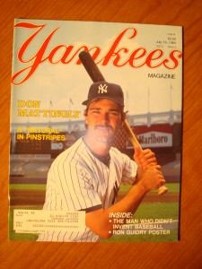 Official July 19,1984 Edition of MLB New York Yankees Magazine featuring 1B Don Mattingley & P Ron Guidry