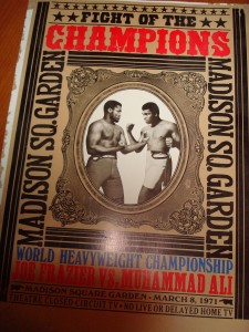 Official Madison Square Garden Poster Announcing the March 8, 1971 World Heavyweight Championship fight between Joe Frazier vs Muhammad Ali - 1st of 3 historic fights between 2 great heavyweight champions