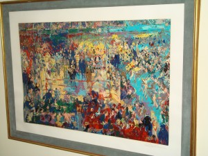LeRoy Neiman signed oil painting titled Introduction at Madison Square Garden