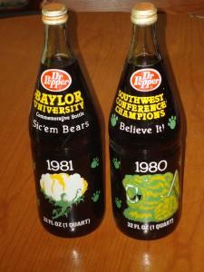 1980 & 1981 NCAA Football SWC Champion Baylor Bears Commemorative Dr. Pepper Quart Bottle
