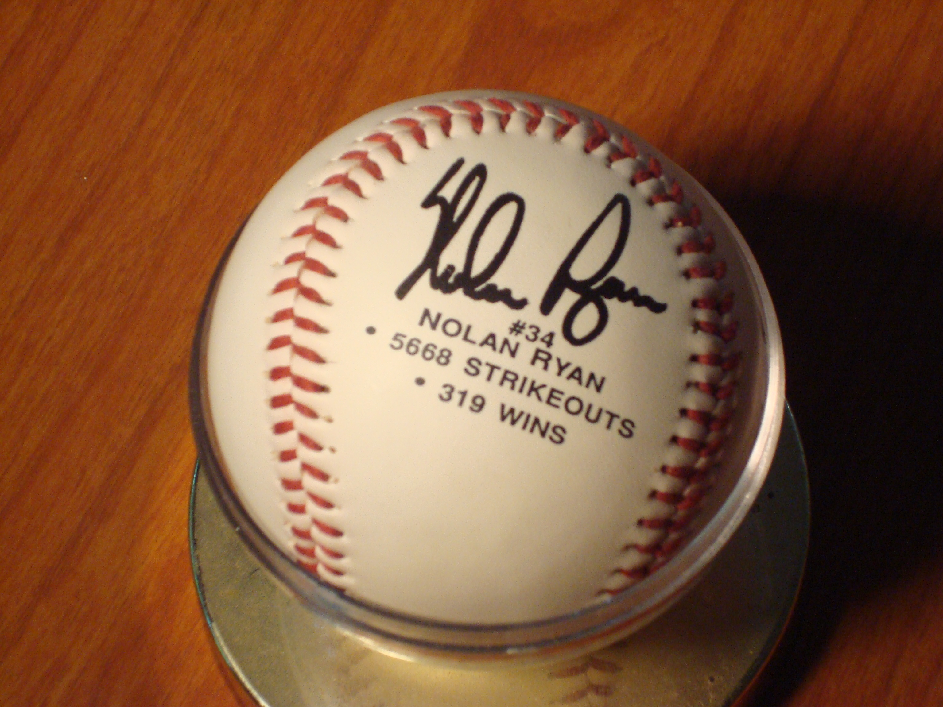 Official Commerative 5,668 Strikeouts & 319 Wins Autographed Nolan Ryan Ball