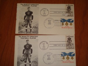Official Post Card of NFL Hall of Fame mailed from Canton, Ohio featuring Jim Thorpe using USA Medal of Honor Stamp. Thorpe is considered by many as the best athlete of all time as evidenced by the following career highlights including 2 x Consensus College Football All-American (1911, 1912) / 1912 Stockholm Olympic Summer Games Gold Medal Winner in the Pentathlon and the Decathlon / GB Press Gazette First Team NFL All Pro (1923) / NFL 1920's All Decade Team / NFL 50th Anniversary All-Time Team / College Football Hall of Fame Inductee (1951) / NFL Hall of Fame Inductee (1963)