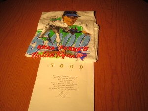 Official T-shirt 1989 Texas Rangers P Nolan Ryan's 5000th Strikeout and Certificate of Attendance